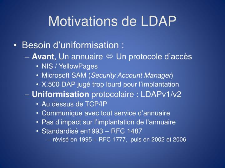 Motivations de LDAP