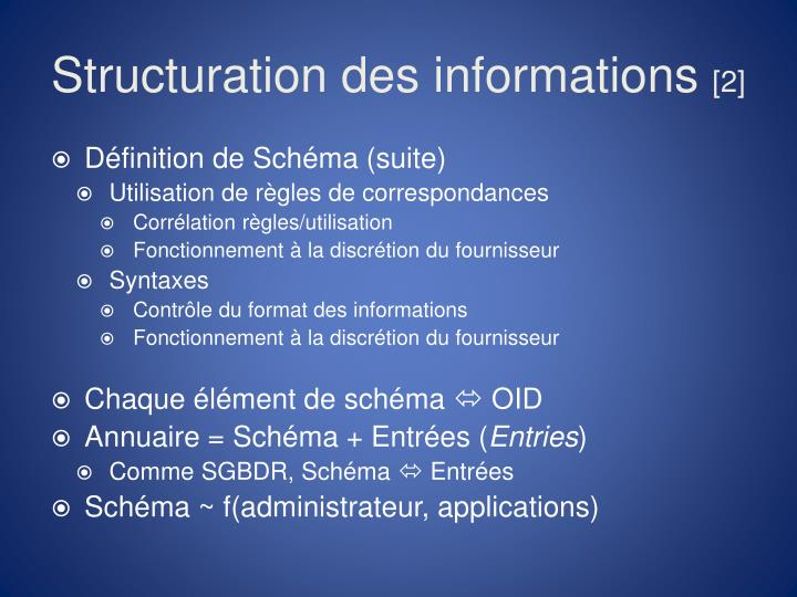 Structuration des informations