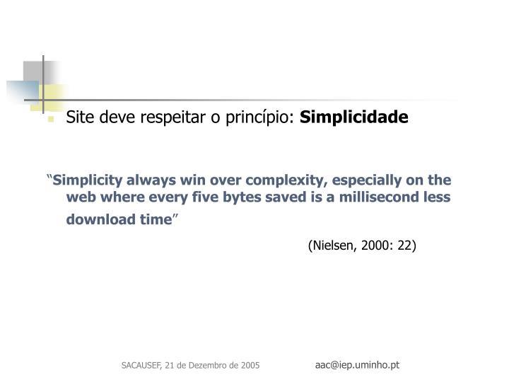 Site deve respeitar o princípio: