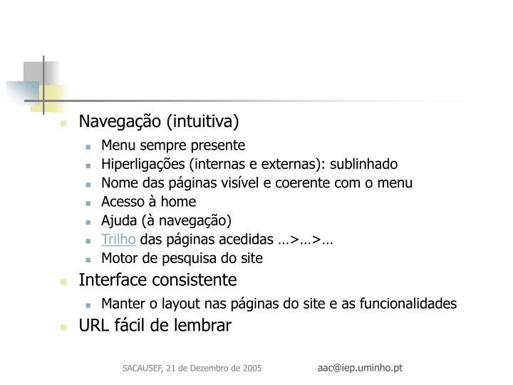 Navegação (intuitiva)