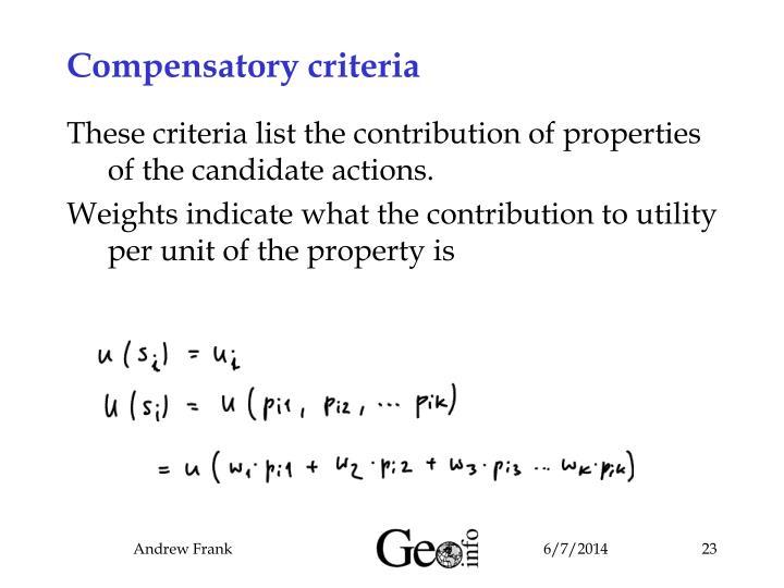 Compensatory criteria