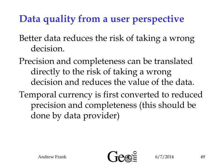 Data quality from a user perspective
