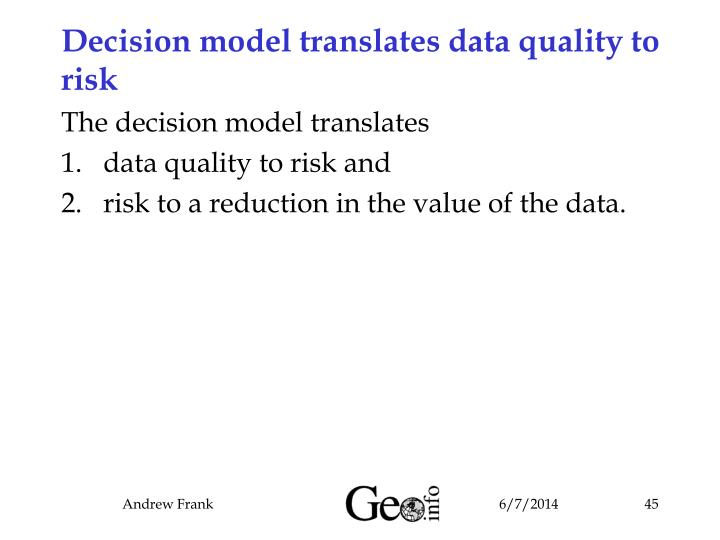 Decision model translates data quality to risk