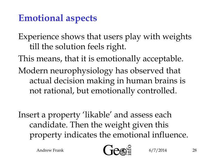Emotional aspects