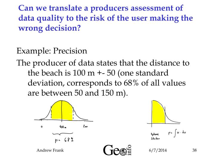 Can we translate a producers assessment of data quality to the risk of the user making the wrong decision?
