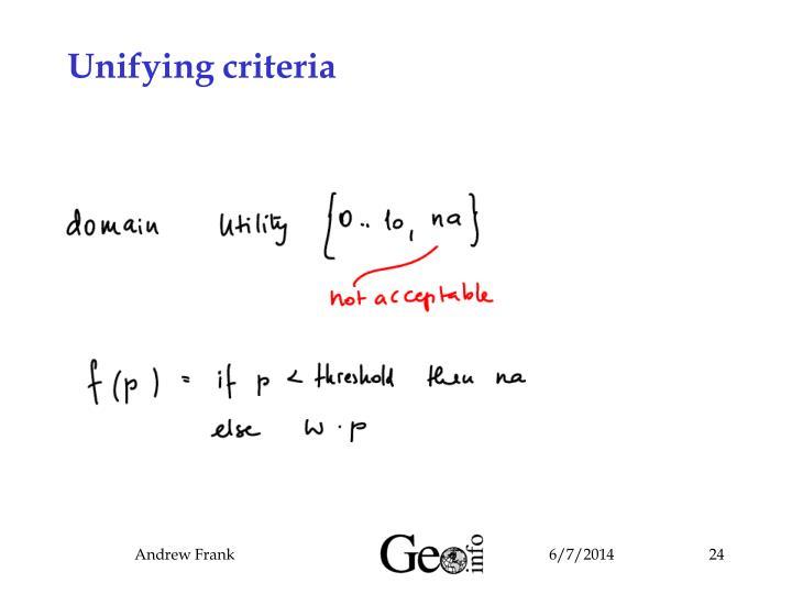 Unifying criteria