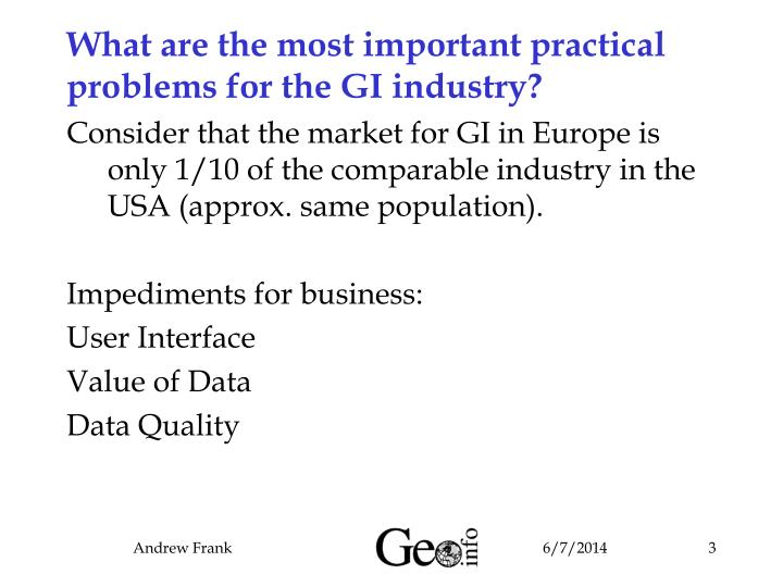 What are the most important practical problems for the GI industry?