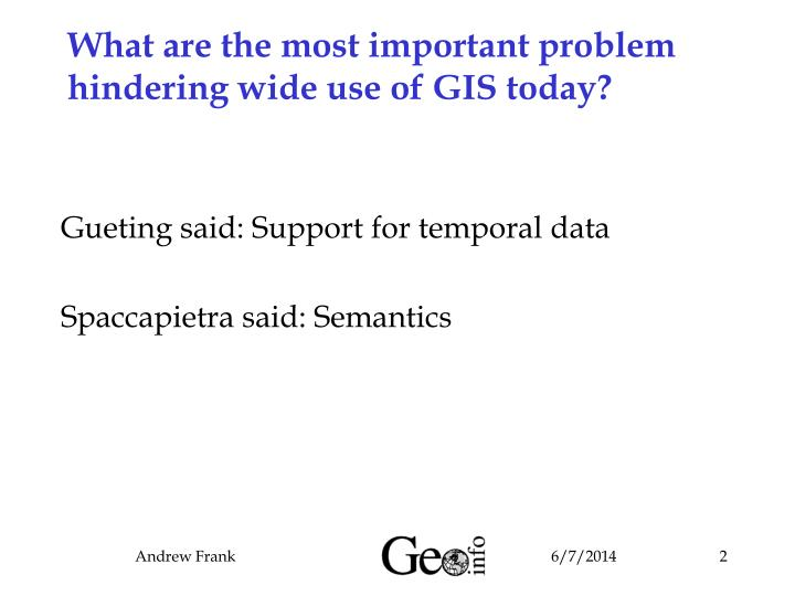 What are the most important problem hindering wide use of GIS today?