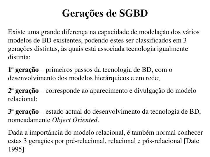 Gerações de SGBD
