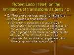 robert lado 1964 on the limitations of translations as tests 2