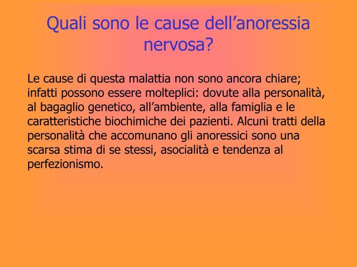 Quali sono le cause dell'anoressia nervosa?