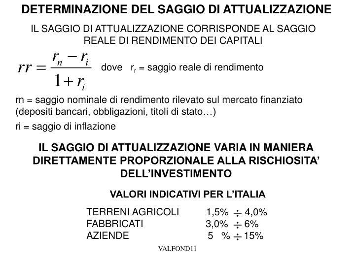 DETERMINAZIONE DEL SAGGIO DI ATTUALIZZAZIONE