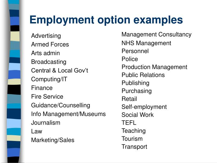 Employment option examples