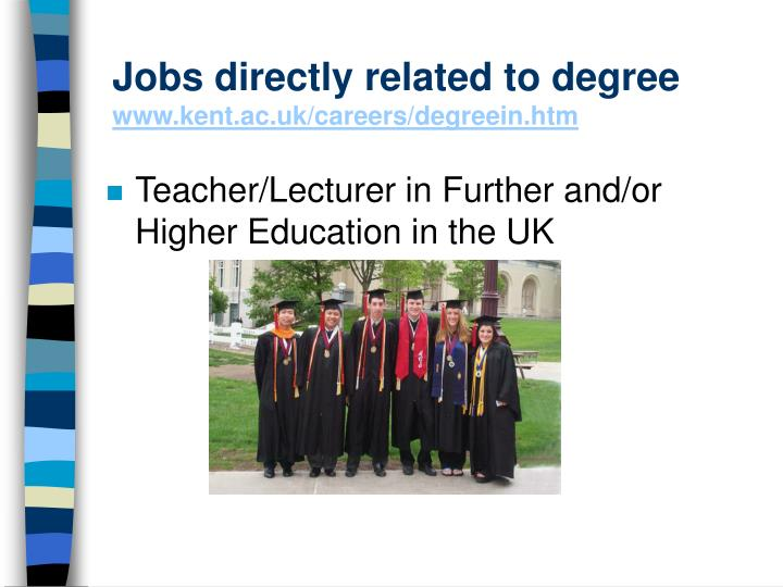 Jobs directly related to degree