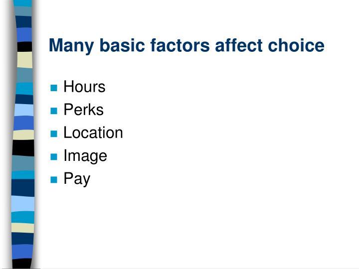 Many basic factors affect choice