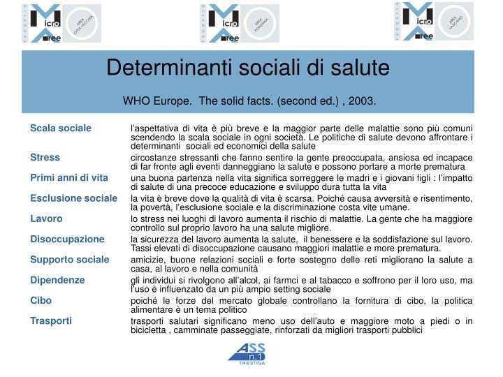 Determinanti sociali di salute