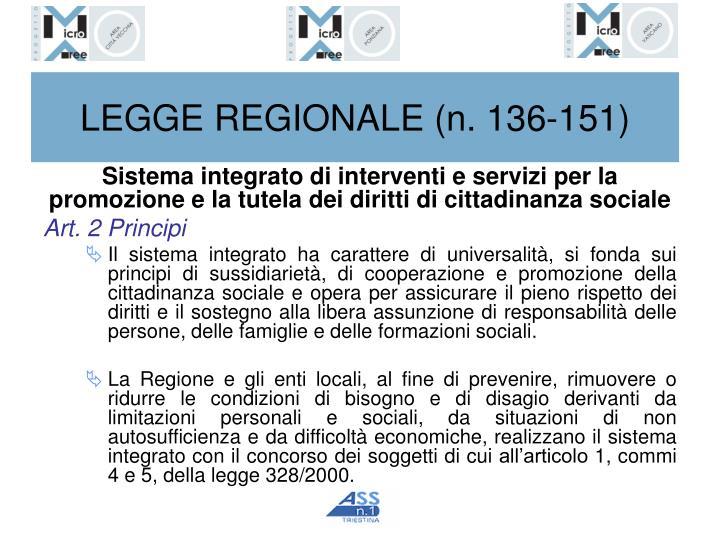 LEGGE REGIONALE (n. 136-151)