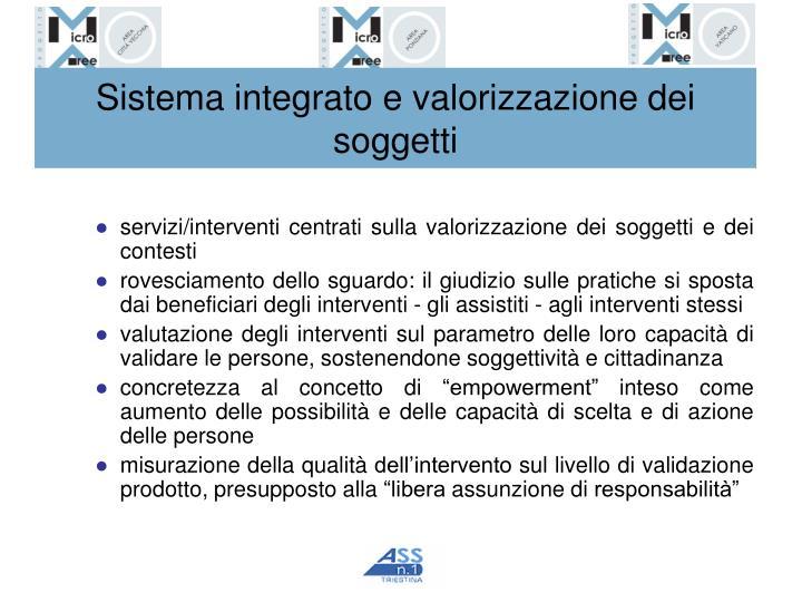 Sistema integrato e valorizzazione dei soggetti