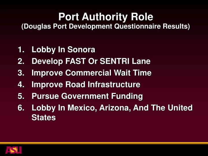 Port Authority Role