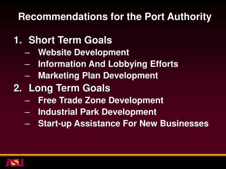 Recommendations for the Port Authority