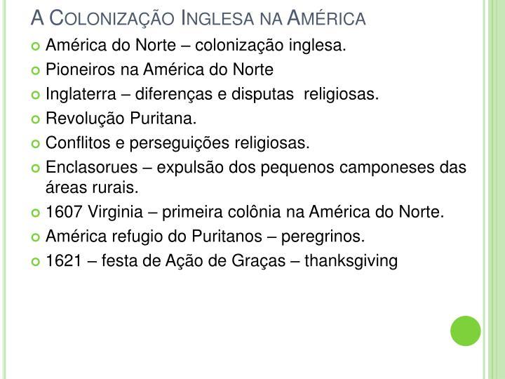 A Colonização Inglesa na América