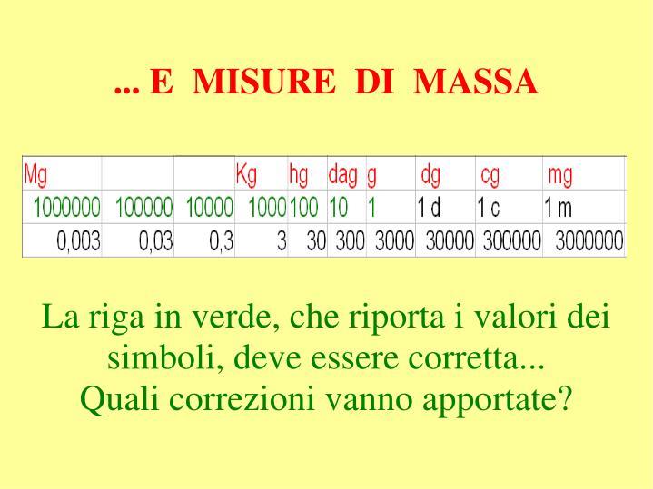 ... E  MISURE  DI  MASSA