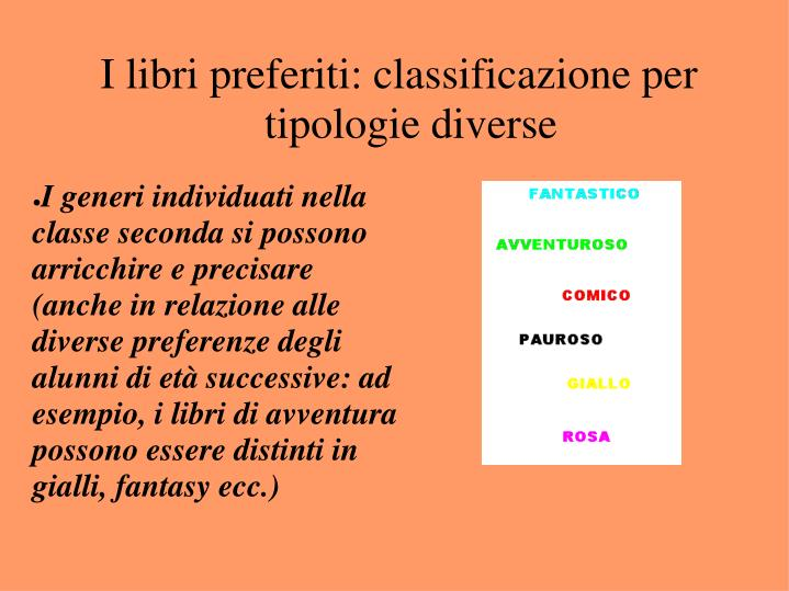 I libri preferiti: classificazione per tipologie diverse