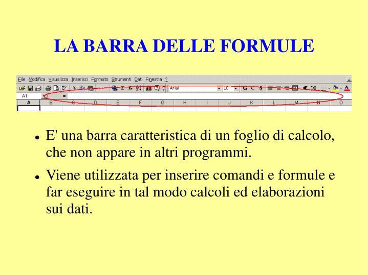 LA BARRA DELLE FORMULE