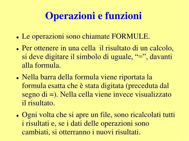 Operazioni e funzioni