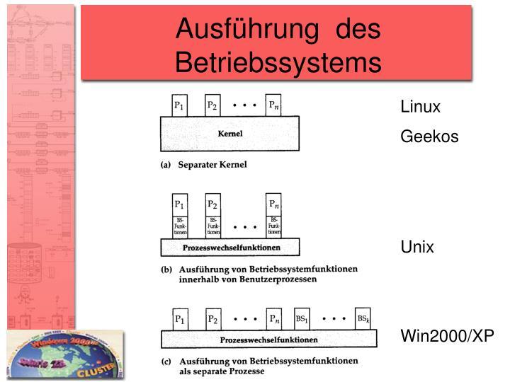 Ausführung  des Betriebssystems