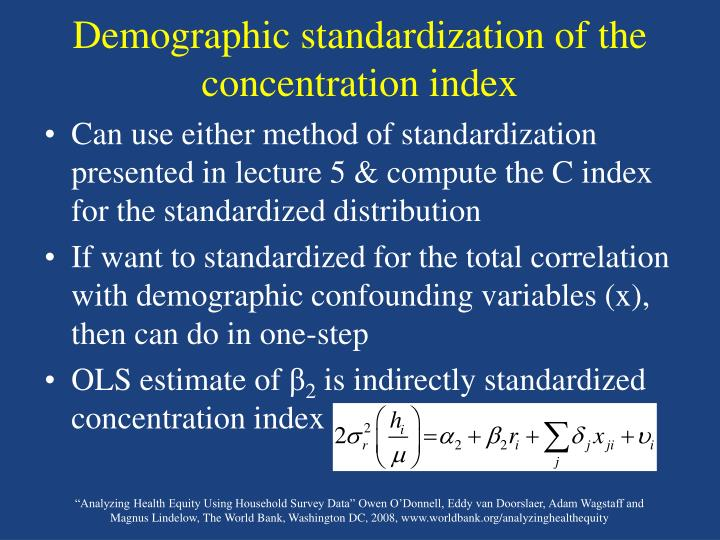 Demographic standardization of the concentration index