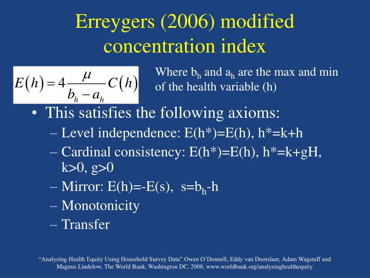 Erreygers (2006) modified concentration index