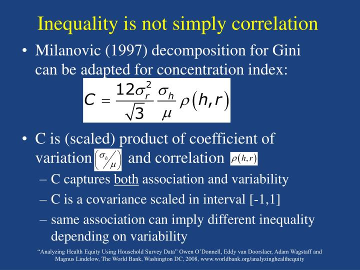 Inequality is not simply correlation