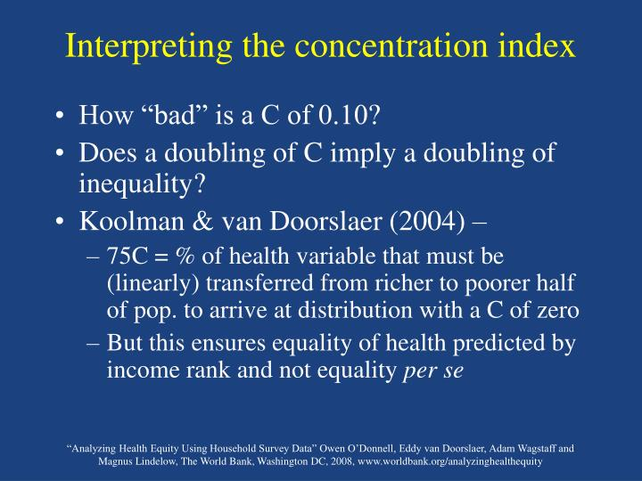 Interpreting the concentration index