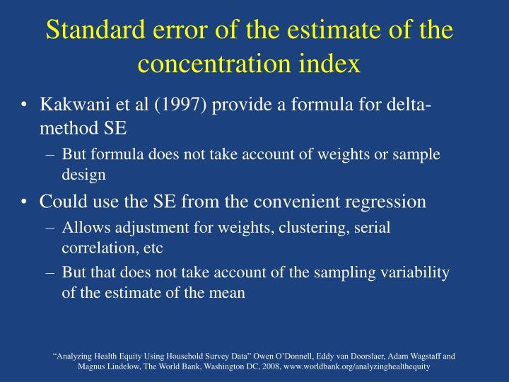 Standard error of the estimate of the concentration index