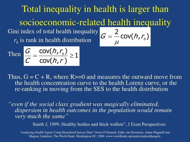Total inequality in health is larger than socioeconomic-related health inequality