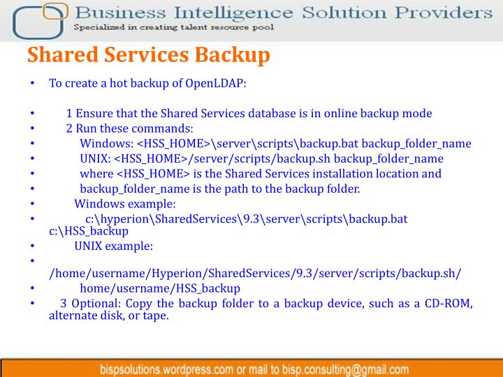 Shared Services Backup