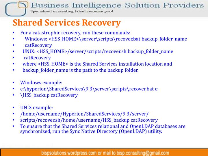 Shared Services Recovery