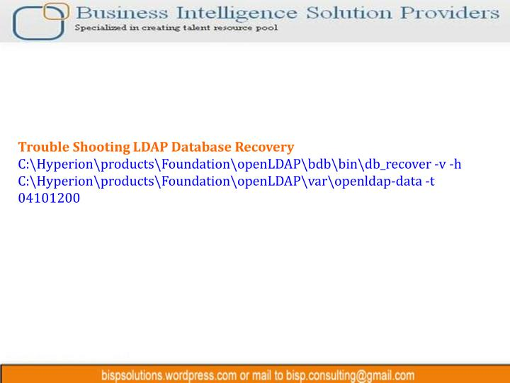 Trouble Shooting LDAP Database Recovery