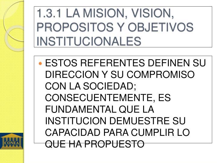 1.3.1 LA MISION, VISION, PROPOSITOS Y OBJETIVOS INSTITUCIONALES