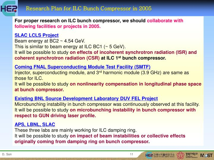 Research Plan for ILC Bunch Compressor in 2005