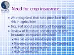 need for crop insurance
