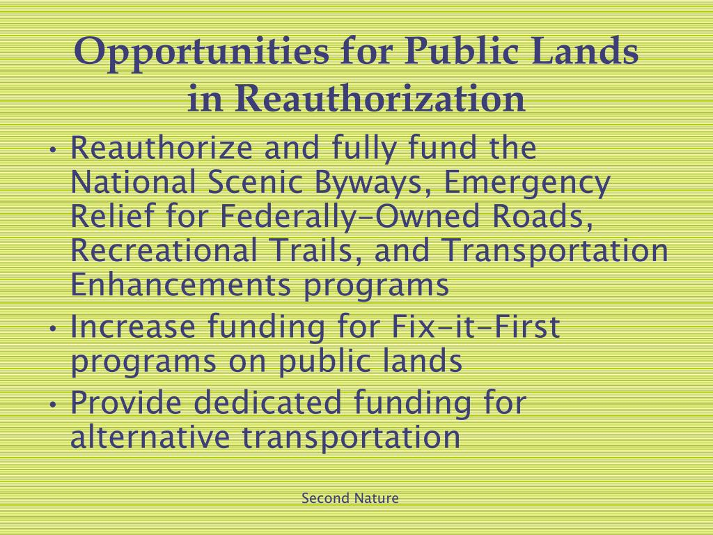 Opportunities for Public Lands in Reauthorization
