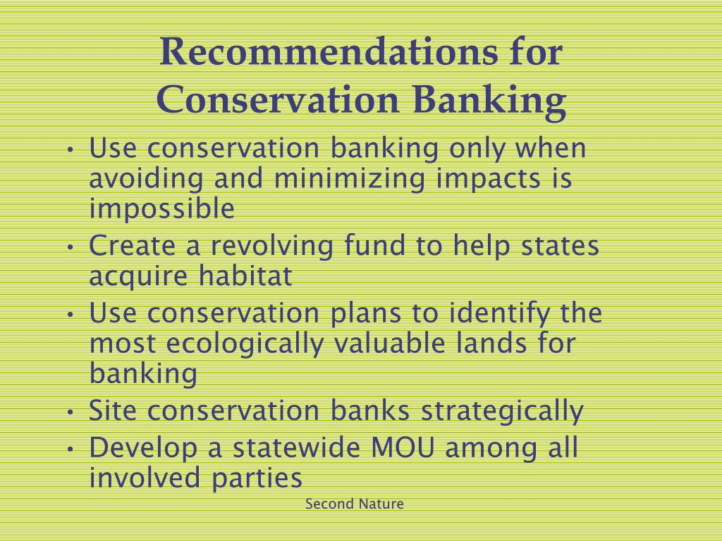 Recommendations for Conservation Banking