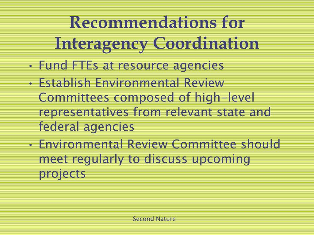 Recommendations for Interagency Coordination