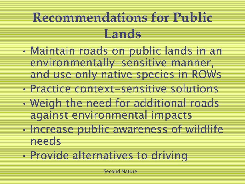 Recommendations for Public Lands