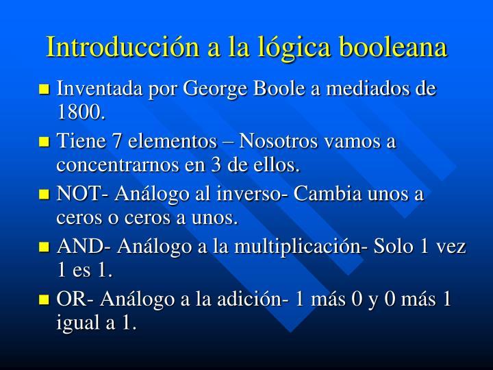 Introducción a la lógica booleana
