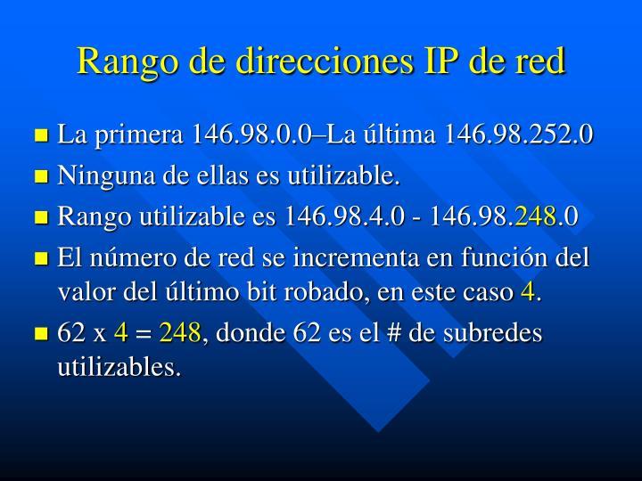 Rango de direcciones IP de red