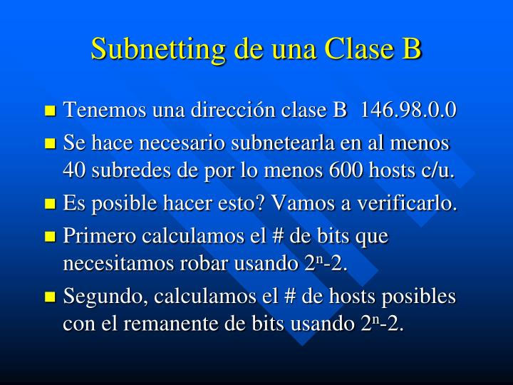 Subnetting de una Clase B