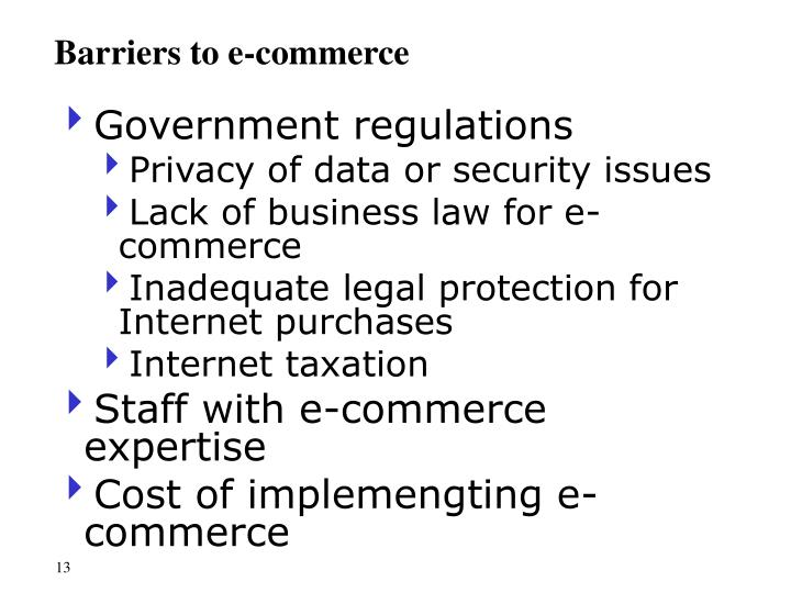 Barriers to e-commerce